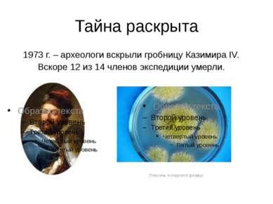 Тайна раскрыта 1973 г. – археологи вскрыли гробницу Казимира IV. Вскоре 12 из...