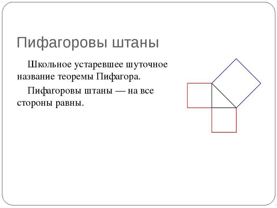 Пифагоровы штаны Школьное устаревшее шуточное название теоремы Пифагора. Пифа...