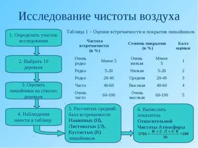Исследование чистоты воздуха 1. Определить участок исследования 2. Выбрать 10...