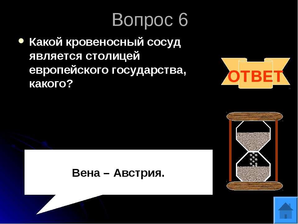 Вопрос 6 Какой кровеносный сосуд является столицей европейского государства, ...