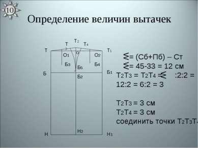 Определение величин вытачек Т Н Т1 Н1 Б Б1 Б2 Н2 О Б3 Б4 Б5 = (Сб+Пб) – Ст = ...