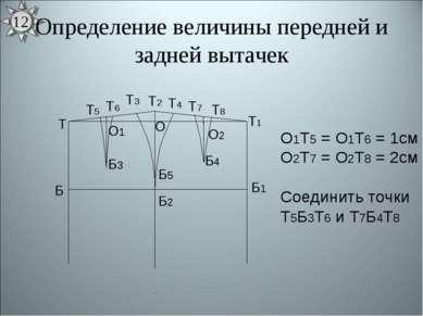 Определение величины передней и задней вытачек О1Т5 = О1Т6 = 1см О2Т7 = О2Т8 ...