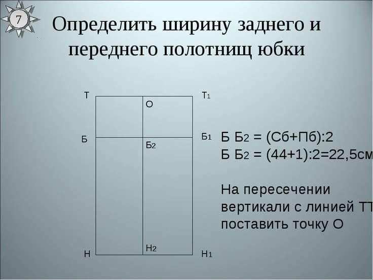 Определить ширину заднего и переднего полотнищ юбки Т Н Т1 Н1 Б Б1 Б Б2 = (Сб...