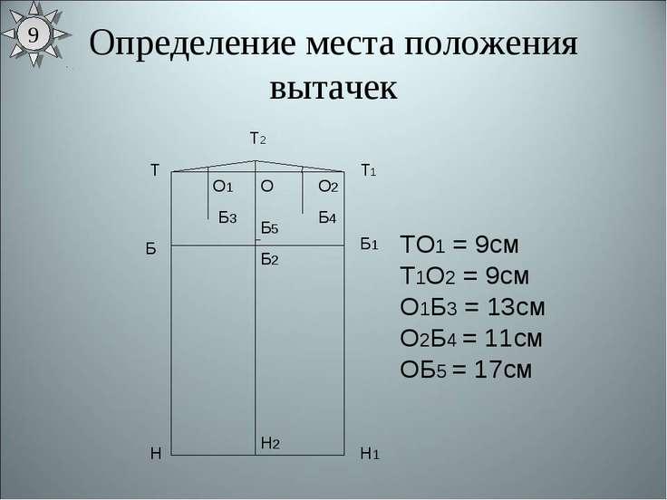 Определение места положения вытачек Т Н Т1 Н1 Б Б1 ТО1 = 9см Т1О2 = 9см О1Б3 ...