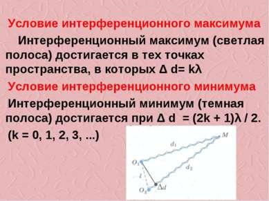 Условие интерференционного максимума Интерференционный максимум (светлая поло...