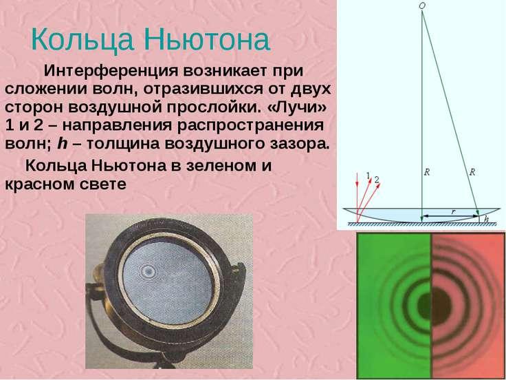 Кольца Ньютона Интерференция возникает при сложении волн, отразившихся от дву...