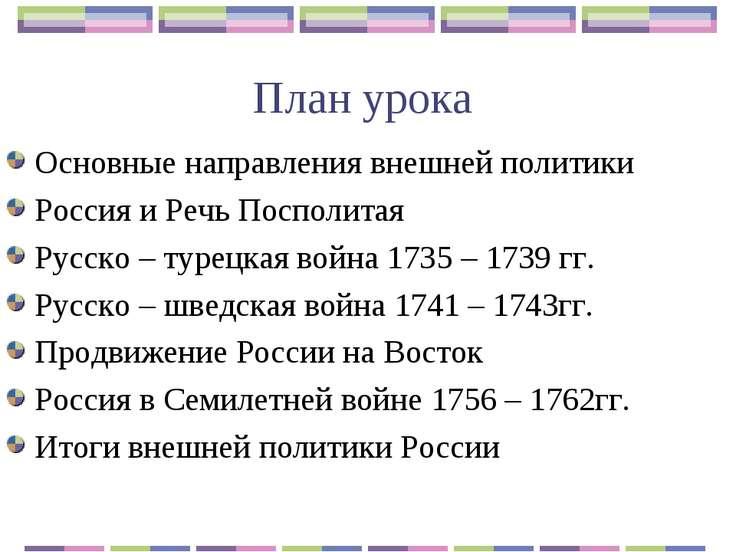 План урока Основные направления внешней политики Россия и Речь Посполитая Рус...