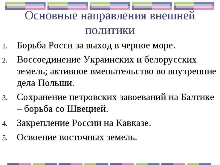 Основные направления внешней политики Борьба Росси за выход в черное море. Во...