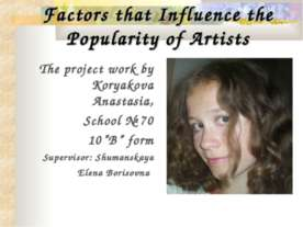 Factors that Influence the Popularity of Artists