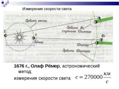 Измерение скорости света 1676 г., Олаф Рёмер, астрономический метод измерения...