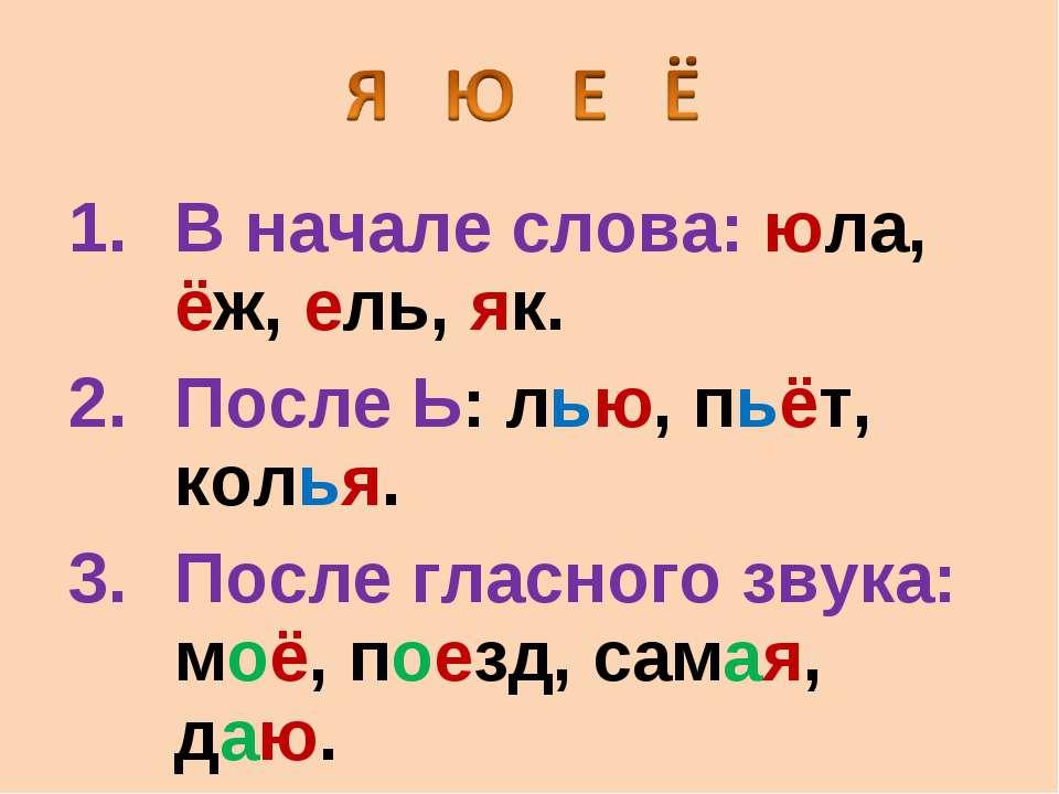 В начале слова: юла, ëж, ель, як. После Ь: лью, пьëт, колья. После гласного з...