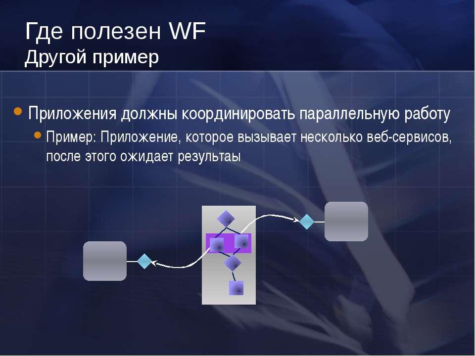 Где полезен WF Другой пример Приложения должны координировать параллельную ра...
