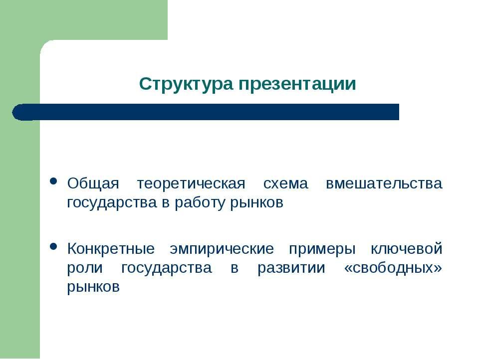 Структура презентации Общая теоретическая схема вмешательства государства в р...