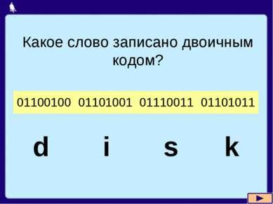 Какое слово записано двоичным кодом? d i s k 01100100 01101001 01110011 01101011
