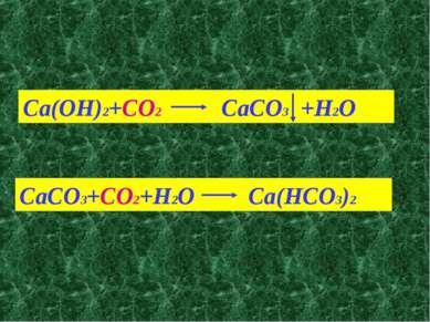 Ca(OH)2+CO2 CaCO3 +H2O CaCO3+CO2+H2O Ca(HCO3)2
