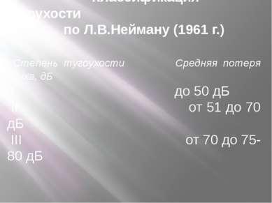Классификация тугоухости по Л.В.Нейману (1961 г.) Степень тугоухости Средняя ...