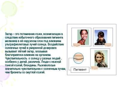 Загар – это потемнение кожи, возникающее в следствие избыточного образования ...