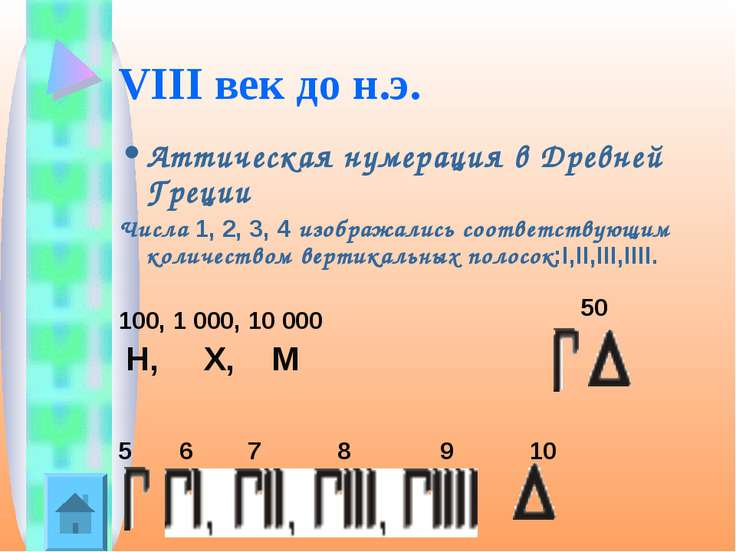 VIII век до н.э. Аттическая нумерация в Древней Греции Числа 1, 2, 3, 4 изобр...