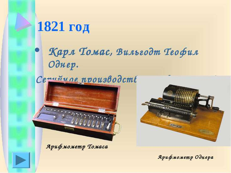1821 год Карл Томас, Вильгодт Теофил Однер. Серийное производство арифмометро...