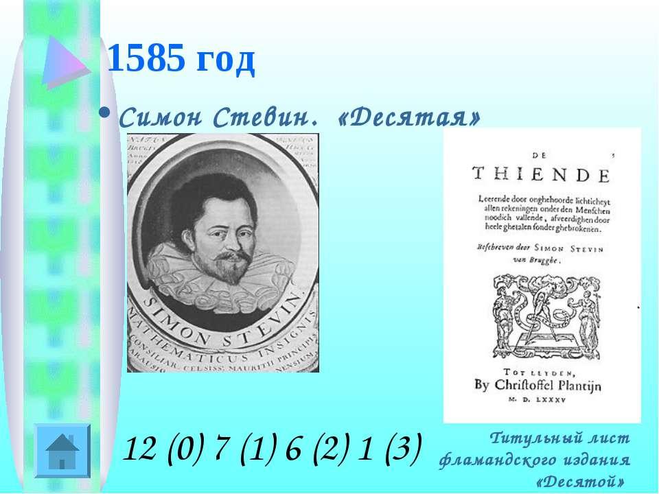 1585 год Симон Стевин. «Десятая» Титульный лист фламандского издания «Десятой...