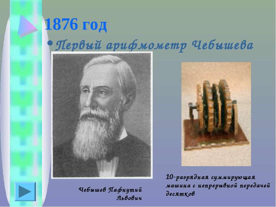 1876 год Первый арифмометр Чебышева Чебышев Пафнутий Львович 10-разрядная сум...