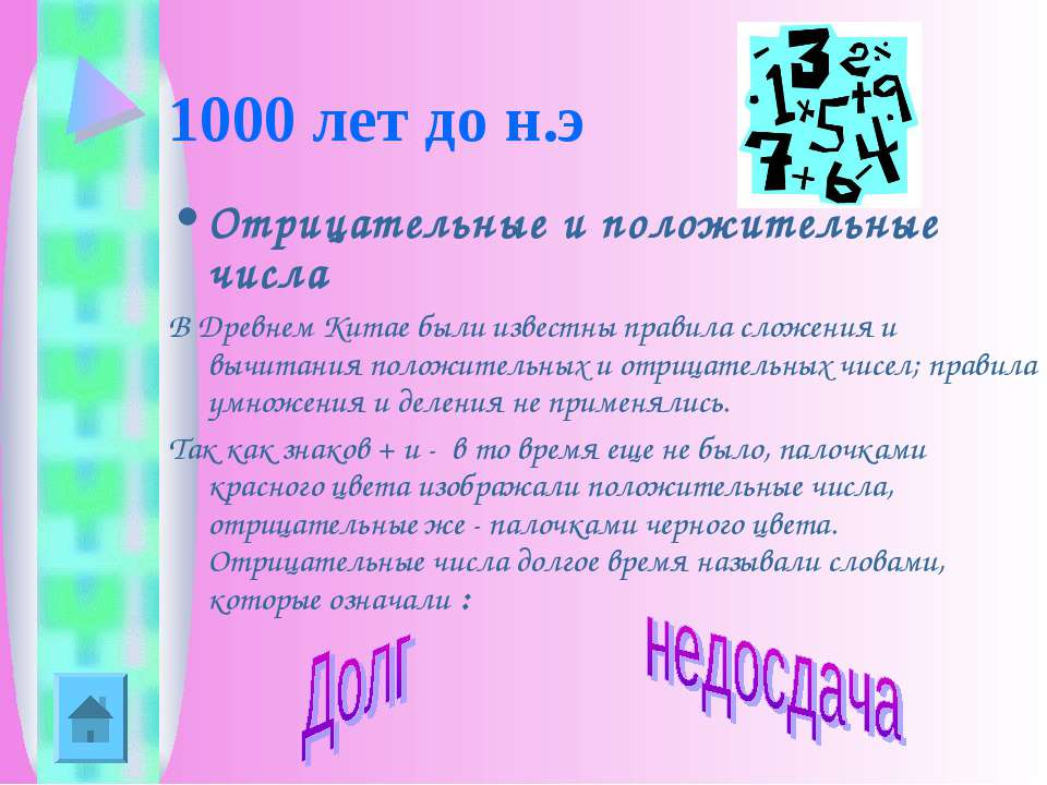 1000 лет до н.э Отрицательные и положительные числа В Древнем Китае были изве...