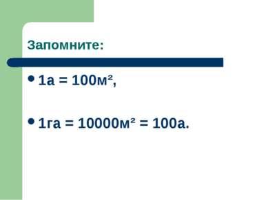 Запомните: 1a = 100м², 1га = 10000м² = 100а.