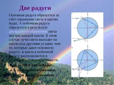 Две радуги Основная радуга образуется за счёт отражения света в каплях воды. ...