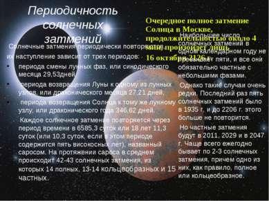 Периодичность солнечных затмений Солнечные затмения периодически повторяются,...