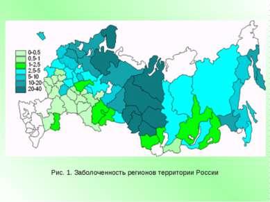 Рис. 1. Заболоченность регионов территории России