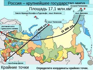 Россия – крупнейшее государство мира 10 000 км 4000 км Площадь 17,1 млн.км² К...