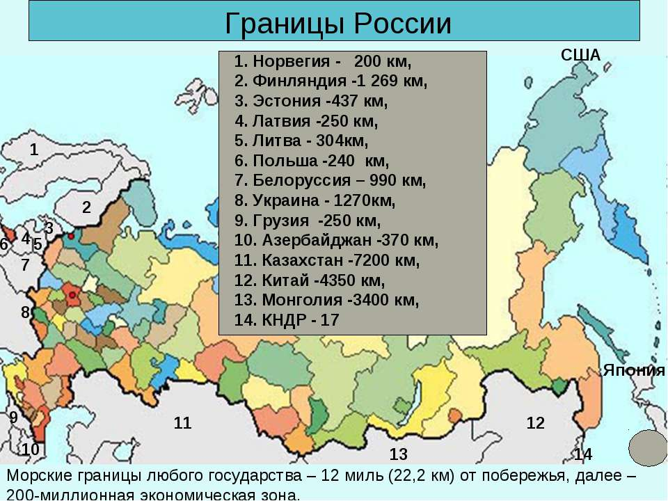 Границы России Морские границы любого государства – 12 миль (22,2 км) от побе...