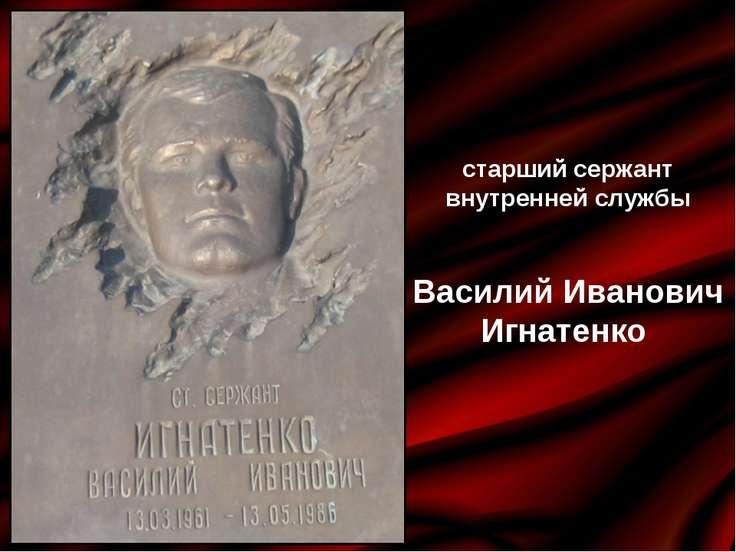 старший сержант внутренней службы Василий Иванович Игнатенко