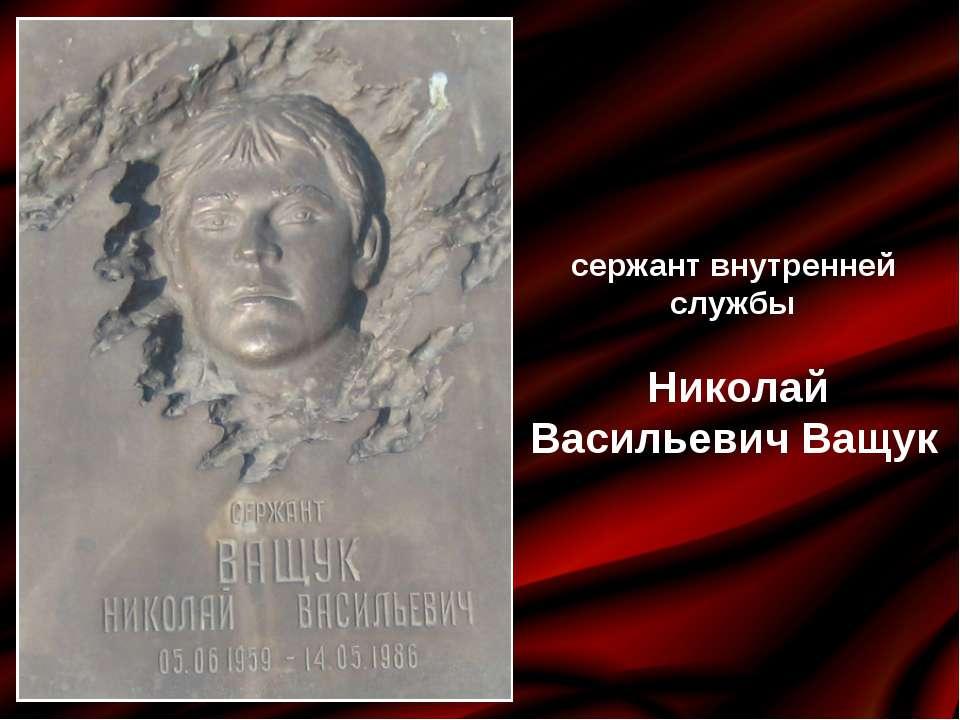 сержант внутренней службы Николай Васильевич Ващук