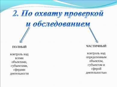 ПОЛНЫЙ контроль над всеми объектами, субъектами, сферами деятельности ЧАСТИЧН...