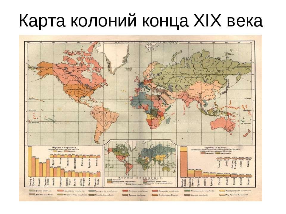Карта колоний конца XIX века