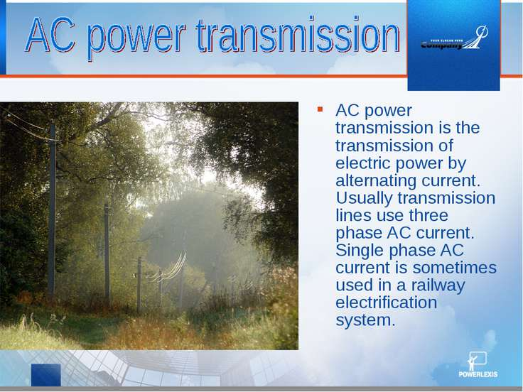 AC power transmission is the transmission of electric power by alternating cu...