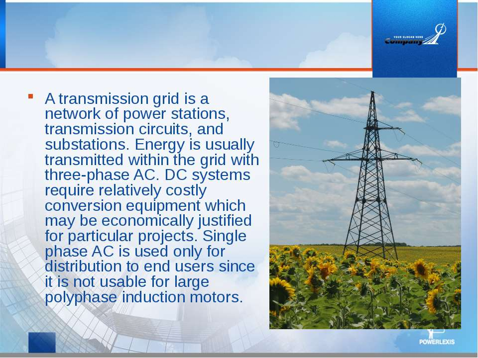 A transmission grid is a network of power stations, transmission circuits, an...