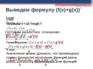 Выведем формулу (f(x)+g(x))΄ f(x) g(x) g(x + h) 3 шаг. Аналогично можно доказ...
