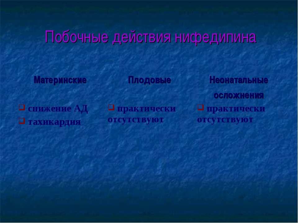 Побочные действия нифедипина Материнские Плодовые Неонатальные осложнения сни...