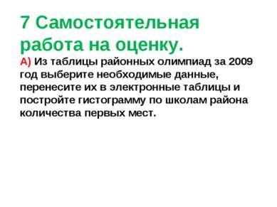 7 Самостоятельная работа на оценку. А) Из таблицы районных олимпиад за 2009 г...