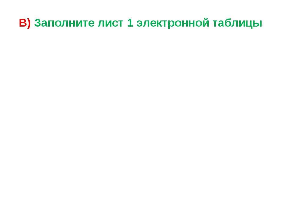 В) Заполните лист 1 электронной таблицы