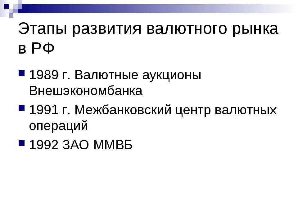 Этапы развития валютного рынка в РФ 1989 г. Валютные аукционы Внешэкономбанка...