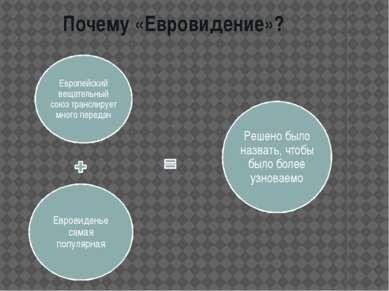 Почему «Евровидение»?