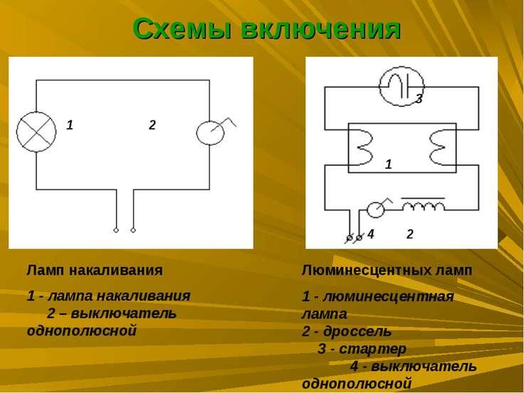Схемы включения Ламп накаливания 1 - лампа накаливания 2 – выключатель однопо...