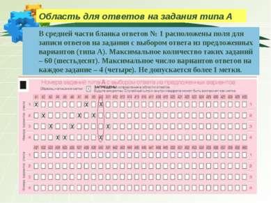 Область для ответов на задания типа А В средней части бланка ответов № 1 расп...
