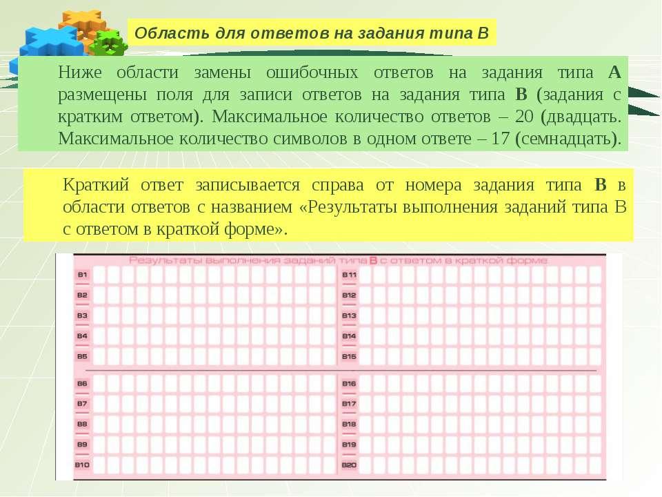 Область для ответов на задания типа В Ниже области замены ошибочных ответов н...