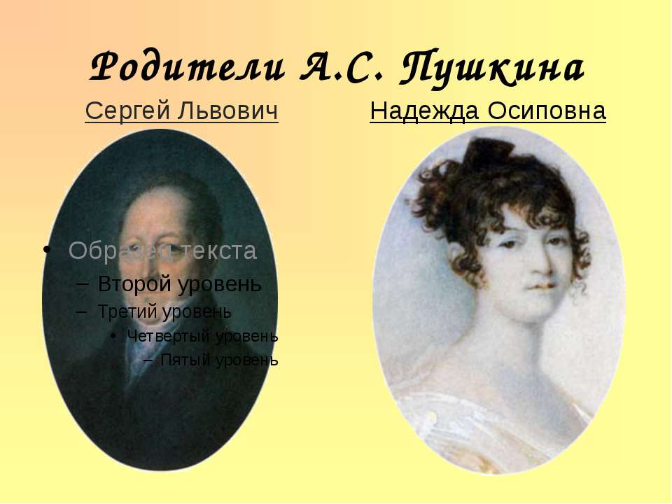 Родители А.С. Пушкина Сергей Львович Надежда Осиповна