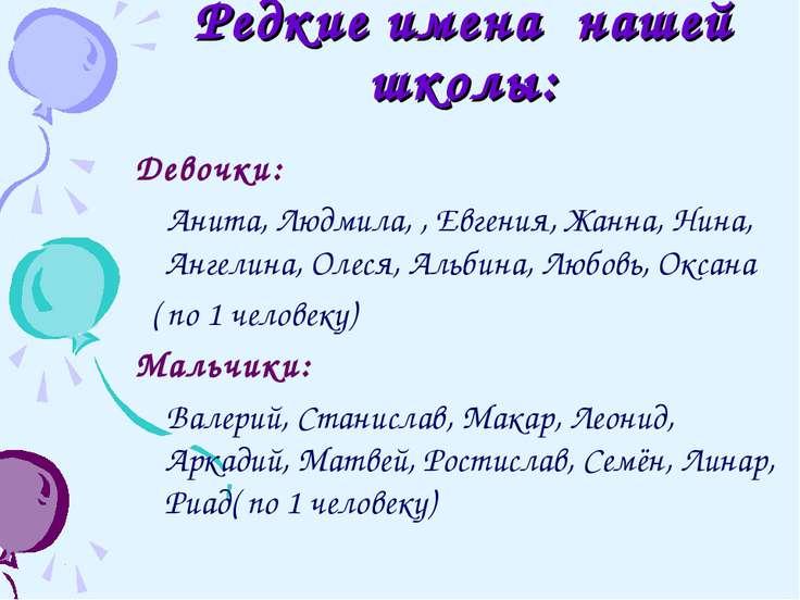 Редкие имена нашей школы: Девочки: Анита, Людмила, , Евгения, Жанна, Нина, Ан...
