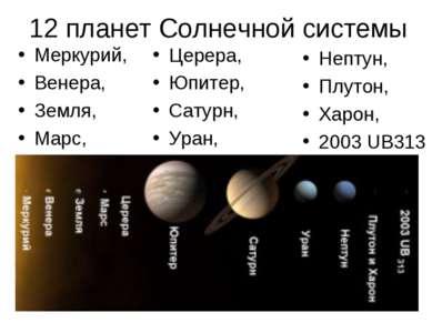 12 планет Солнечной системы Меркурий, Венера, Земля, Марс, Церера, Юпитер, Са...